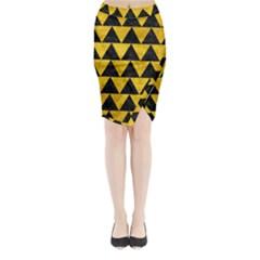 TRI2 BK-YL MARBLE Midi Wrap Pencil Skirt