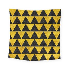 Triangle2 Black Marble & Yellow Marble Square Tapestry (small)