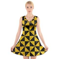 TRI1 BK-YL MARBLE V-Neck Sleeveless Skater Dress