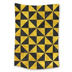 Triangle1 Black Marble & Yellow Marble Large Tapestry