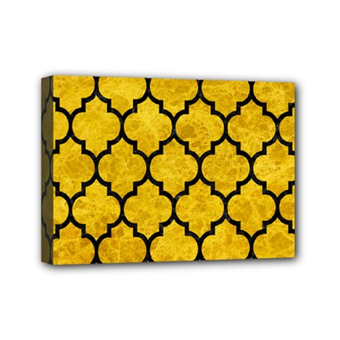 Tile1 Black Marble & Yellow Marble (r) Mini Canvas 7  X 5  (stretched)