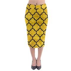 TIL1 BK-YL MARBLE (R) Midi Pencil Skirt