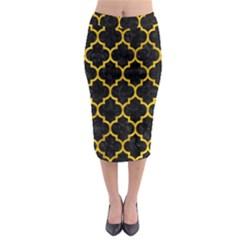 TIL1 BK-YL MARBLE Midi Pencil Skirt