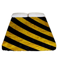 Stripes3 Black Marble & Yellow Marble (r) Fitted Sheet (king Size)