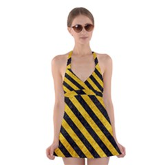 STR3 BK-YL MARBLE (R) Halter Swimsuit Dress