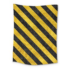 Stripes3 Black Marble & Yellow Marble (r) Medium Tapestry