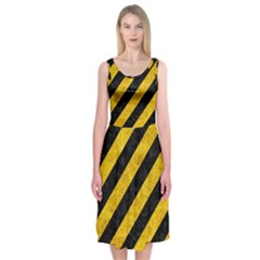 STR3 BK-YL MARBLE Midi Sleeveless Dress