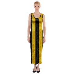 Stripes1 Black Marble & Yellow Marble Fitted Maxi Dress