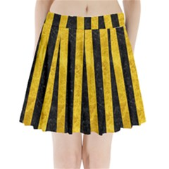 STR1 BK-YL MARBLE Pleated Mini Skirt