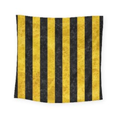 Stripes1 Black Marble & Yellow Marble Square Tapestry (small)