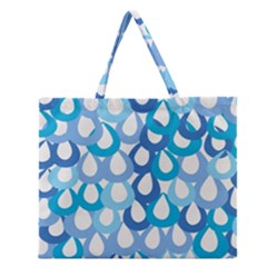 Fabrics Lucienne Blue Water Zipper Large Tote Bag