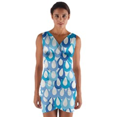 Fabrics Lucienne Blue Water Wrap Front Bodycon Dress