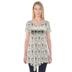 Face Dok Bone Numberpink Animals Short Sleeve Tunic