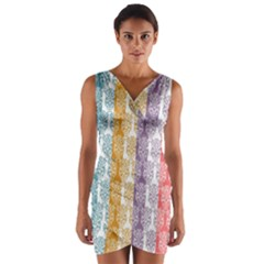 Digital Print Scrapbook Flower Leaf Color Green Red Purple Yellow Blue Pink Wrap Front Bodycon Dress