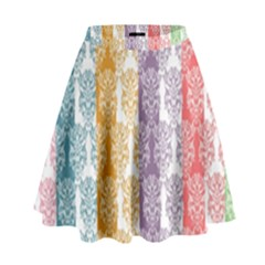Digital Print Scrapbook Flower Leaf Color Green Red Purple Yellow Blue Pink High Waist Skirt