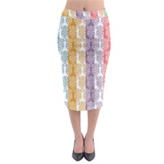Digital Print Scrapbook Flower Leaf Color Green Red Purple Yellow Blue Pink Midi Pencil Skirt