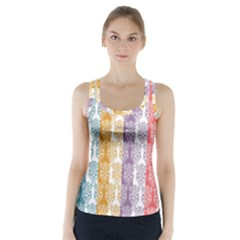 Digital Print Scrapbook Flower Leaf Color Green Red Purple Yellow Blue Pink Racer Back Sports Top