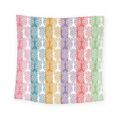 Digital Print Scrapbook Flower Leaf Color Green Red Purple Yellow Blue Pink Square Tapestry (small)
