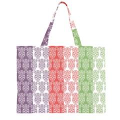 Digital Print Scrapbook Flower Leaf Color Green Red Purple Blue Pink Large Tote Bag