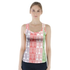 Digital Print Scrapbook Flower Leaf Color Green Red Purple Blue Pink Racer Back Sports Top