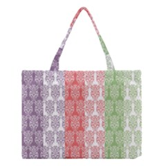 Digital Print Scrapbook Flower Leaf Color Green Red Purple Blue Pink Medium Tote Bag