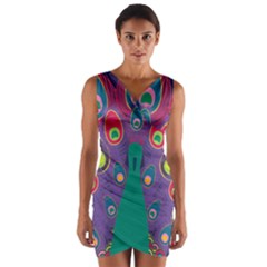 Colorful Peacock Line Wrap Front Bodycon Dress