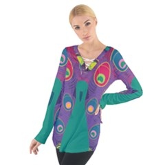 Colorful Peacock Line Women s Tie Up Tee