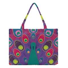 Colorful Peacock Line Medium Tote Bag
