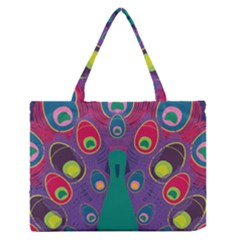 Colorful Peacock Line Medium Zipper Tote Bag