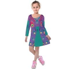 Colorful Peacock Line Kids  Long Sleeve Velvet Dress
