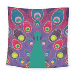 Colorful Peacock Line Square Tapestry (large)