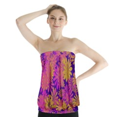 Floral Pattern Purple Rose Strapless Top