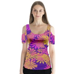 Floral Pattern Purple Rose Butterfly Sleeve Cutout Tee