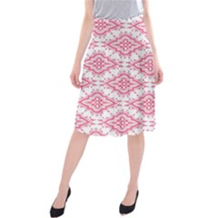 Flower Floral Pink Leafe Midi Beach Skirt
