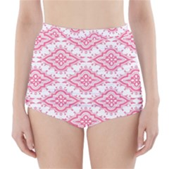 Flower Floral Pink Leafe High-Waisted Bikini Bottoms