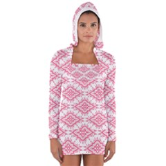 Flower Floral Pink Leafe Women s Long Sleeve Hooded T-shirt