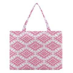 Flower Floral Pink Leafe Medium Tote Bag