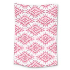 Flower Floral Pink Leafe Large Tapestry