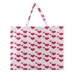 Heart Love Pink Valentine Day Zipper Large Tote Bag