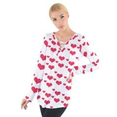 Heart Love Pink Valentine Day Women s Tie Up Tee