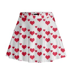 Heart Love Pink Valentine Day Mini Flare Skirt