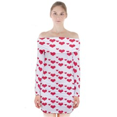 Heart Love Pink Valentine Day Long Sleeve Off Shoulder Dress