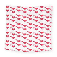 Heart Love Pink Valentine Day Square Tapestry (large)