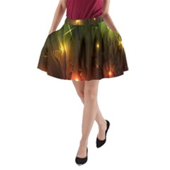 Fractal Manipulations Raw Flower Colored A-Line Pocket Skirt