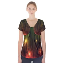 Fractal Manipulations Raw Flower Colored Short Sleeve Front Detail Top