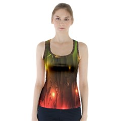 Fractal Manipulations Raw Flower Colored Racer Back Sports Top