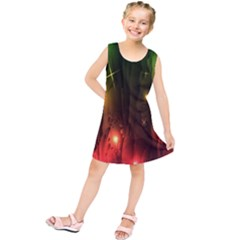 Fractal Manipulations Raw Flower Colored Kids  Tunic Dress