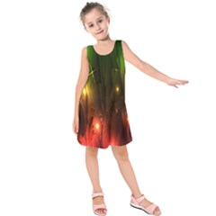 Fractal Manipulations Raw Flower Colored Kids  Sleeveless Dress