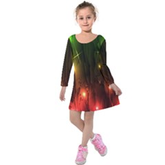 Fractal Manipulations Raw Flower Colored Kids  Long Sleeve Velvet Dress