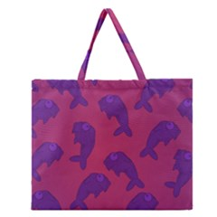Fluffy Stuffie Animals Purple Pink Zipper Large Tote Bag